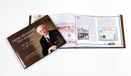 Hardcover legacy book and company history book on Canadian immigrant entrepreneur John Heffner