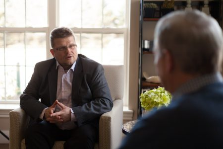 Historical Branding Solutions Inc. founder and president Dr. Ulrich Frisse conducting an interview for a 2020 company anniversary book
